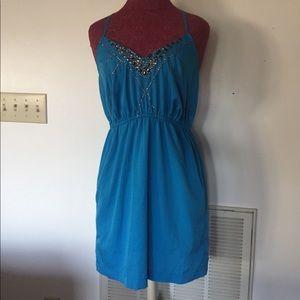 Blue detailed mini dress